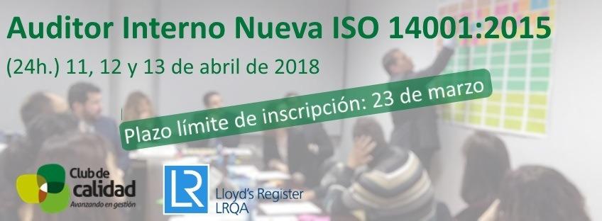 Curso: Auditor Interno Nueva ISO 14001:2015