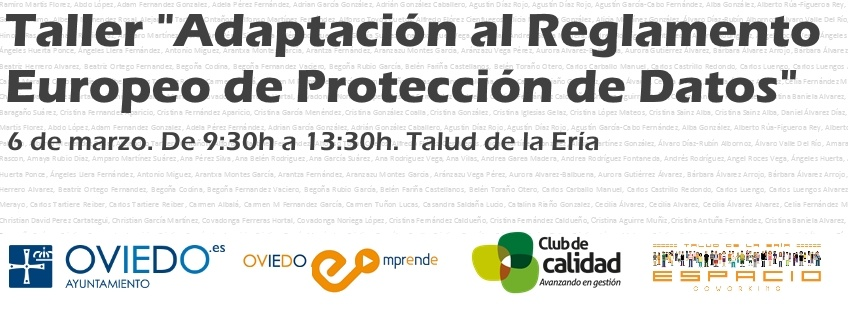 "Taller gratuito ""Adaptación al Reglamento Europeo de Protección de Datos"". Oviedo Emprende"