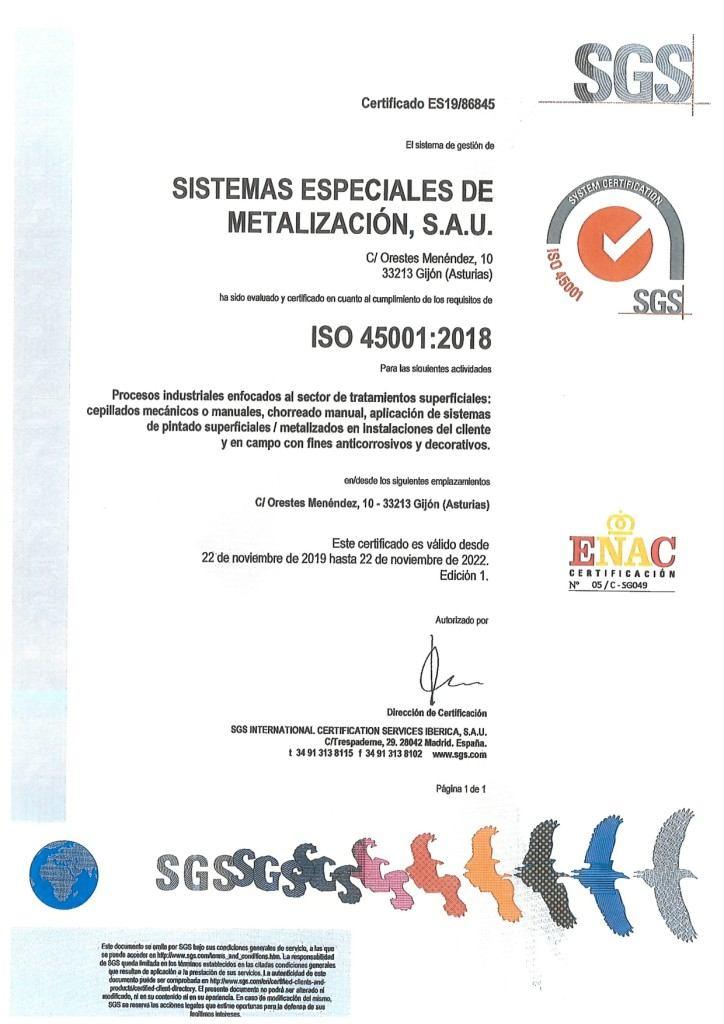 SEM SE CERTIFICA BAJO LA NORMA ISO45001:2018