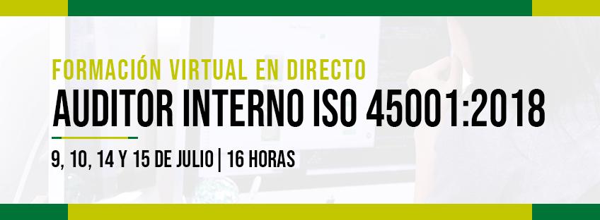 Formación virtual en directo: Auditor Interno ISO 45001:2018